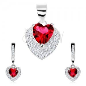 Set ze stříbra 925, náušnice, přívěsek, červené zirkonové srdce, čiré zirkonky