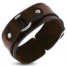 Hnědý kožený náramek dvojvrstvý s kroužkem