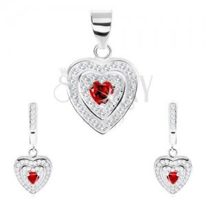 Stříbrný set 925, přívěsek a náušnice, zirkonové srdce, dvojitý blýskavý lem