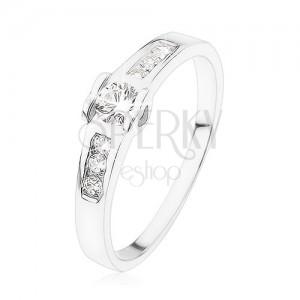 Zásnubní prsten ze stříbra 925, kulatý čirý zirkon, srdíčka, zirkonová linie