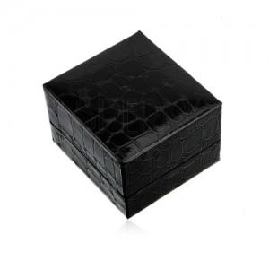 Dárková krabička na prsten nebo náušnice, černá barva, krokodýlí vzor
