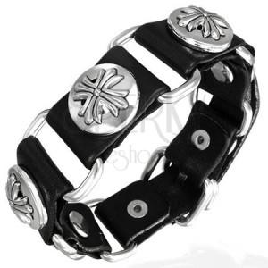 Černý kožený náramek Fleur de lis cross