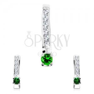 Stříbrný 925 set přívěsku a náušnic, úzká čirá linie, drobný zelený zirkon