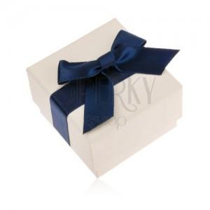Krémová dárková krabička na prsten, přívěsek nebo náušnice, modrá mašle