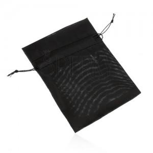 Organzový sáček na dárek, černá barva, hladký lesklý povrch