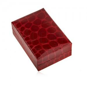 Dárková krabička na náušnice, krokodýlí vzor, tmavě červený odstín