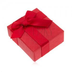 Dárková krabička na prsten, červená barva, mašlička, ozdobný vzor
