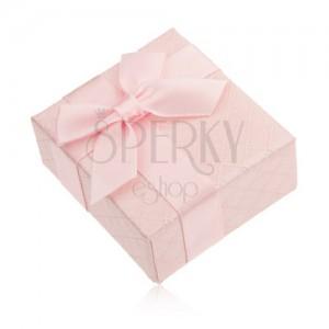 Dárková krabička na prsten, růžová barva, lesklý povrch, mašlička