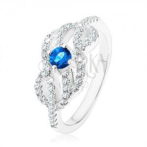 Stříbrný 925 prsten, modrý zirkonek, propletené zvlněné linie