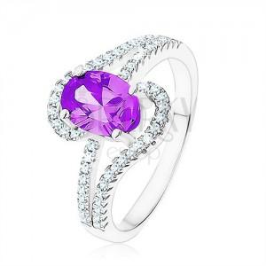 Prsten ze stříbra 925, zirkon tanzanitové barvy, slzičkovité obrysy