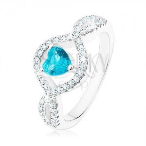 Stříbrný prsten 925, světle modré zirkonové srdce, vlnitá čirá ramena