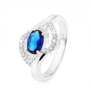 Prsten ze stříbra 925, tmavomodrý zirkonový ovál, zaoblené čiré linie