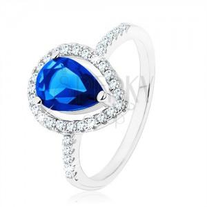 Prsten, stříbro 925, úzká ramena, zirkonová slza modré barvy