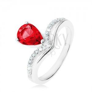 Stříbrný prsten 925, obrácená slza - růžový zirkon, zašpičatělá linie