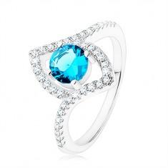 Prsten, stříbro 925, jasně modrý zirkon - kruh, špičaté zrnko - kontura HH7.14