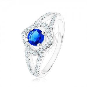 Stříbrný prsten 925, rozdvojená ramena, obrys čtverce, modrý zirkon