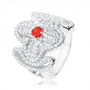 Masivní prsten, stříbro 925, červený zirkonek, rozsáhlý ornament - kříž