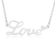 Ocelový řetízek 316L, stříbrná barva, nápis Love, srdíčko