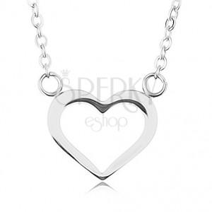 Řetízek z oceli 316L, stříbrná barva, obrys symetrického srdce