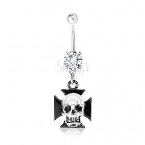 Ocelový 316L piercing do pupíku, čirý zirkon, maltézský kříž, lebka