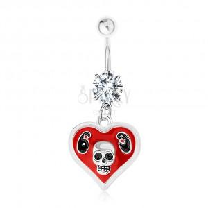 Ocelový 316L piercing do bříška, srdce, glazura, lebka, číslice 69
