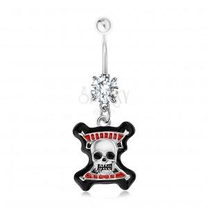 Piercing do pupíku, ocel 316L, čirý zirkon, lebka, černý lem, červené proužky