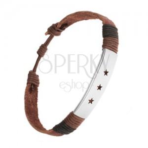 Náramek z kůže, nastavitelná délka, ocelová známka, výřezy - hvězdy