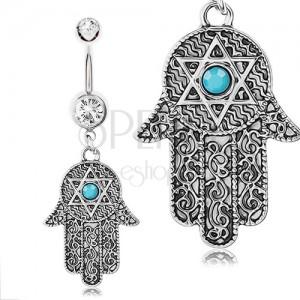 Ocelový piercing 316L do pupíku, ruka Fatimy, stříbrná barva, ornamenty