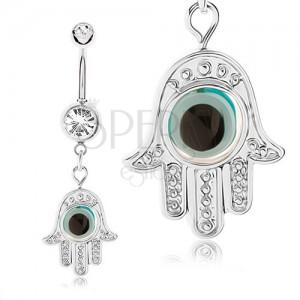 Ocelový piercing 316L do pupíku, ruka - hamsa, pohyblivé oko, zirkony