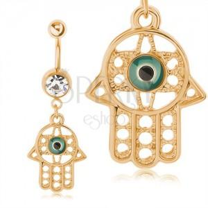 Ocelový piercing 316L do pupíku, zlatá barva, přívěsek - ruka Fatimy