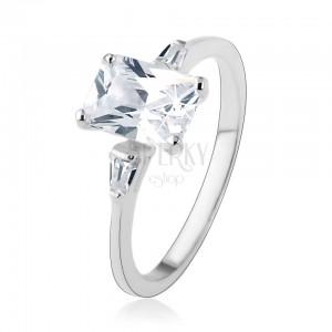 Zásnubní prsten, stříbro 925, velký zirkonový obdélník, malé lichoběžníky