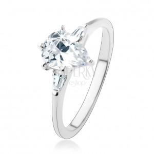 Zásnubní prsten ze stříbra 925, čirá zirkonová kapka, dva lichoběžníky
