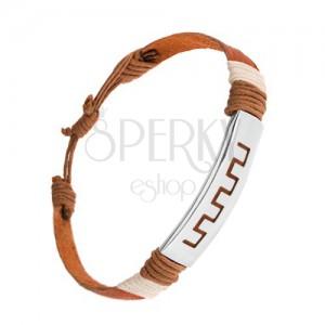 Nastavitelný kožený náramek, skořicově hnědá barva, známka z oceli, řecký motiv
