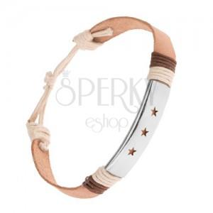 Náramek z kůže, nastavitelný, béžová barva, ocelová známka s výřezy ve tvaru hvězd