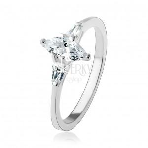 Zásnubní prsten ze stříbra 925, čirý zrnkovitý zirkon, zářivé lichoběžníky