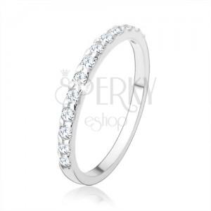 Stříbrný prsten 925, blýskavá zirkonová linie čiré barvy, hladká ramena