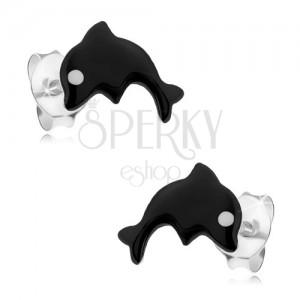 Stříbrné 925 náušnice, malý delfín pokrytý černou glazurou, bílé oko
