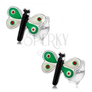 Stříbrné náušnice 925, motýlek s barevnou glazurou, zelenobílá křídla