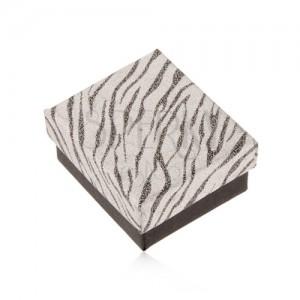 Třpytivá krabička na náušnice, stříbrná a černá barva, zebří vzor