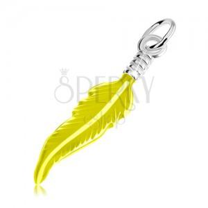 Stříbrný 925 přívěsek, gravírované pírko, glazura neonově žluté barvy