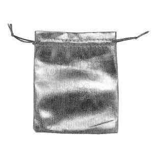 Dárkový sáček z látky, stříbrná barva, lesk, šňůrky