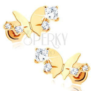 Zlaté náušnice 375 - lesklý malý motýl, oblouk z čirých třpytivých zirkonů