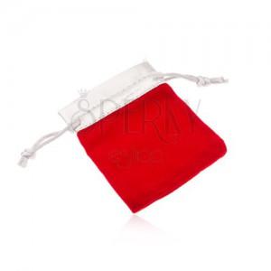 Červený sametový sáček na dárek, horní část ve stříbrném odstínu
