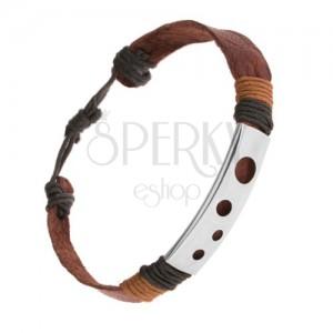 Hnědý kožený náramek, ovázané šňůrky, ocelová známka - kruhové výřezy