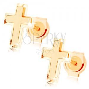 Zlaté náušnice 375 - malý latinský křížek, kombinace lesklého a matného povrchu