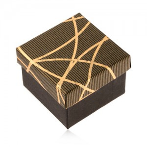 Dárková krabička na prsten a náušnice, černozlatá barva, lesklé proužky