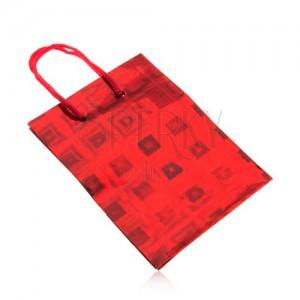 Taštička na dárek, červená barva, barevné odlesky, hladký povrch