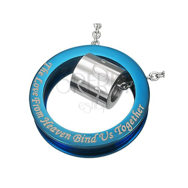 Modro-stříbrno ocelový přívěsek - výrok o lásce
