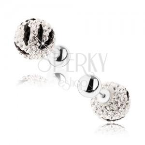 Oboustranné stříbrné náušnice 925, čiré a černé zirkony, kuličky, zebří vzor