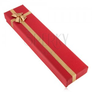 Dárková krabička na hodinky a řetízek, červený odstín, stužka, mašle